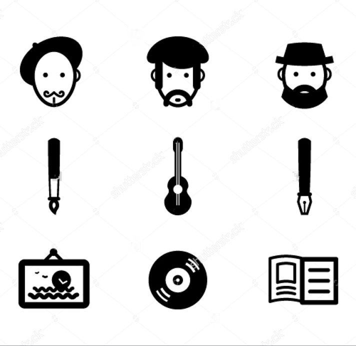 stock-vector-painter-musician-writer-and-their-works-59554567